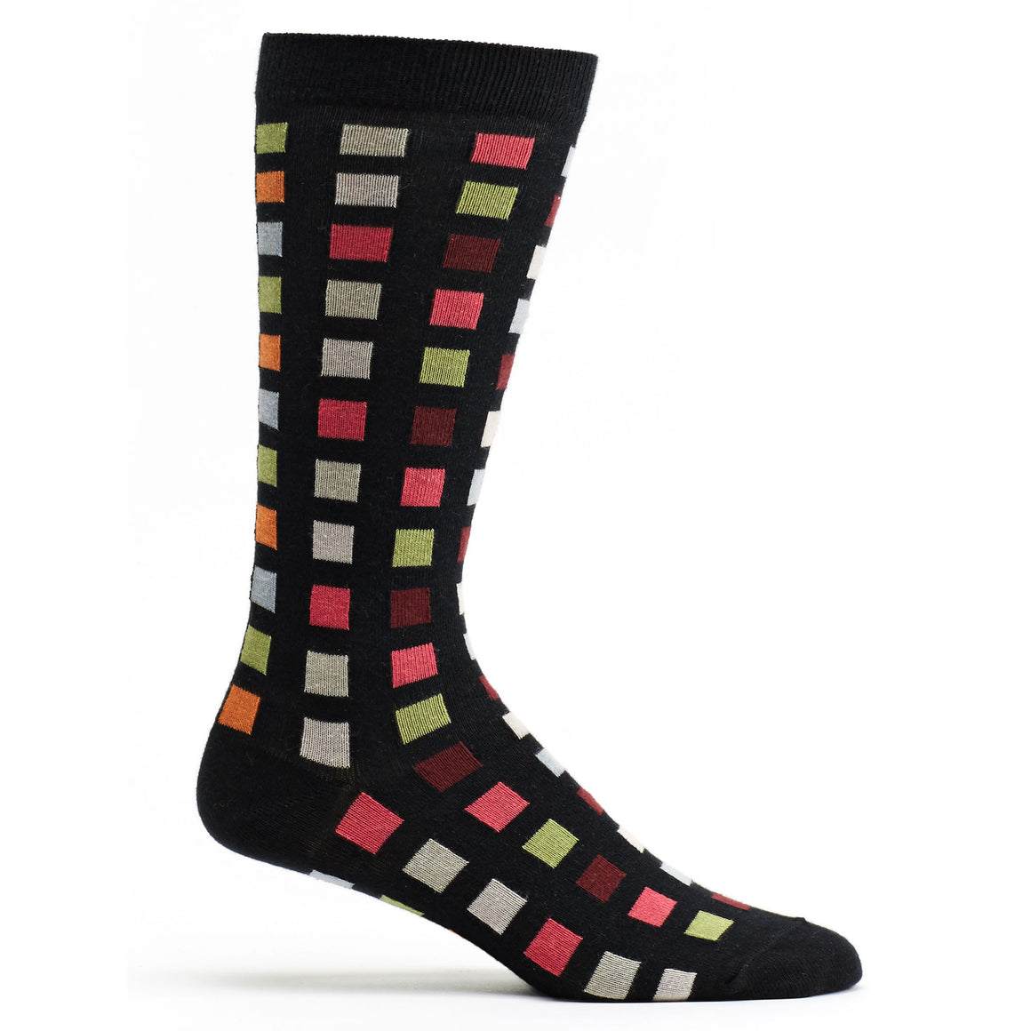 Square Flair Sock in Black size 10-13 mens geometrics from ozone socks