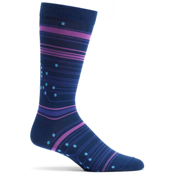 Circuit Stripes Sock in Navy size 10-13 mens from ozone socks