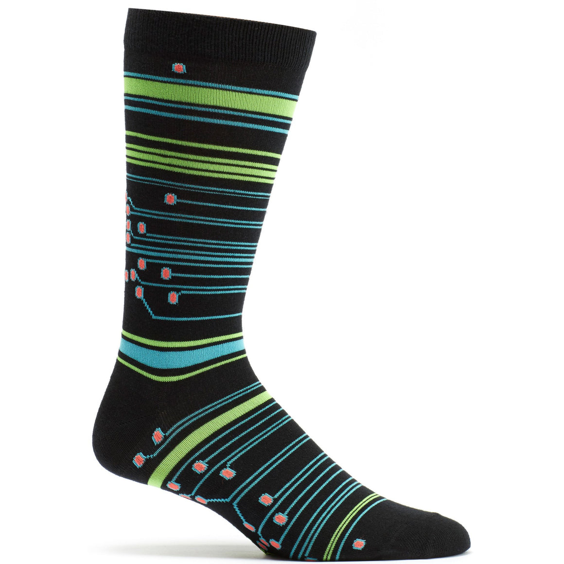 Circuit Stripes Sock in Black size 10-13 mens from ozone socks