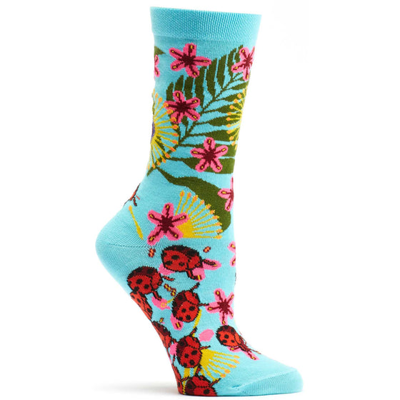 Ozone Design insect Warrior Womens Floral Sock in Blue