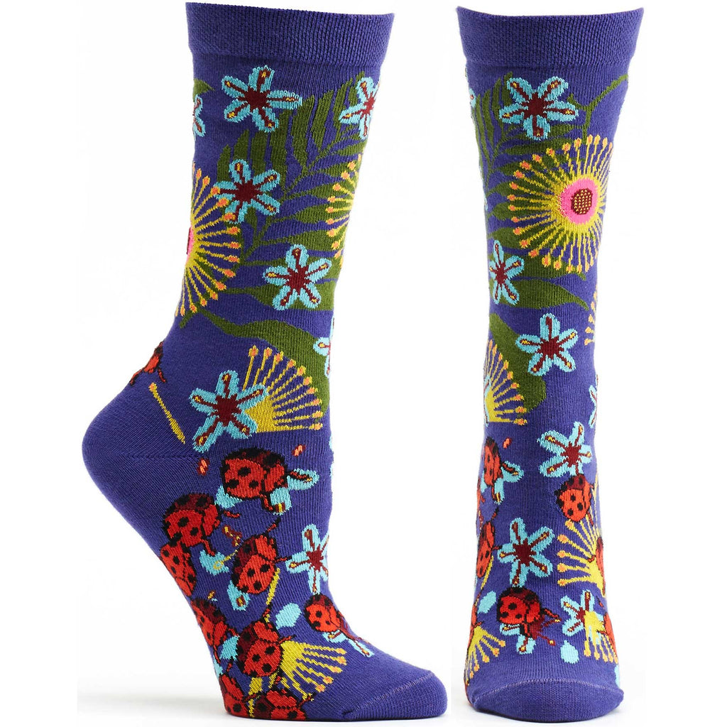 Ozone Design insect Warrior Womens Floral Sock in violet