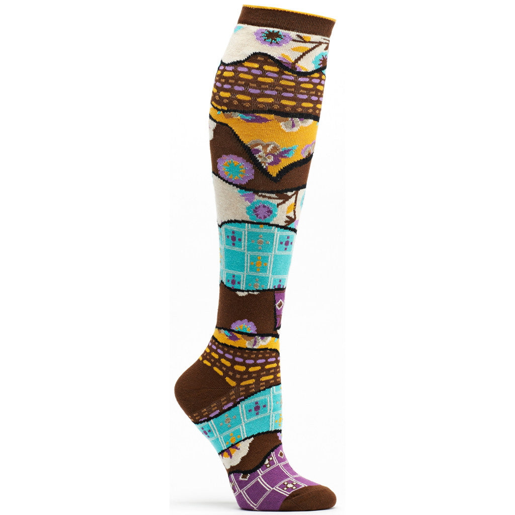 Quilt Pile Knee High Sock in Brown size 9-11 womens novelty from ozone socks