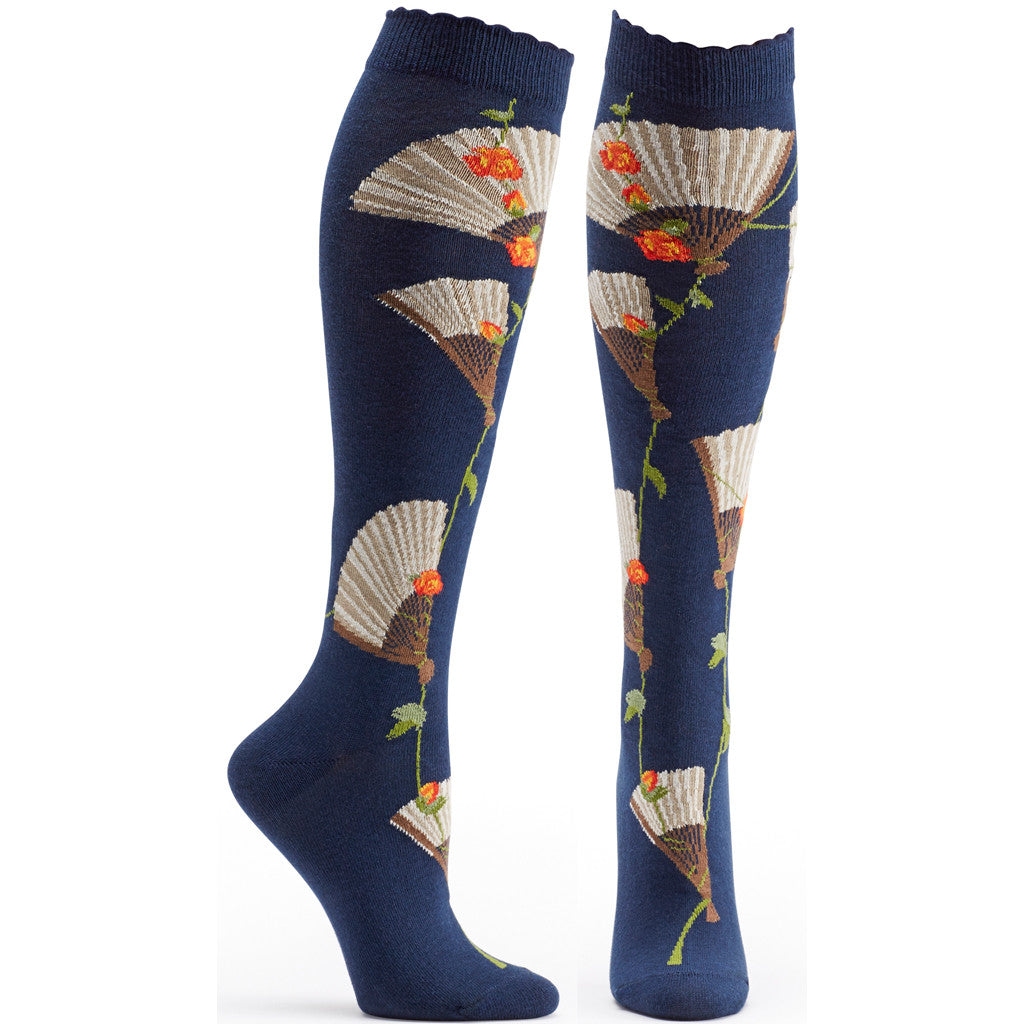 Both feet of Eventail Knee High Sock in Navy size 9-11 womens novelty from ozone socks