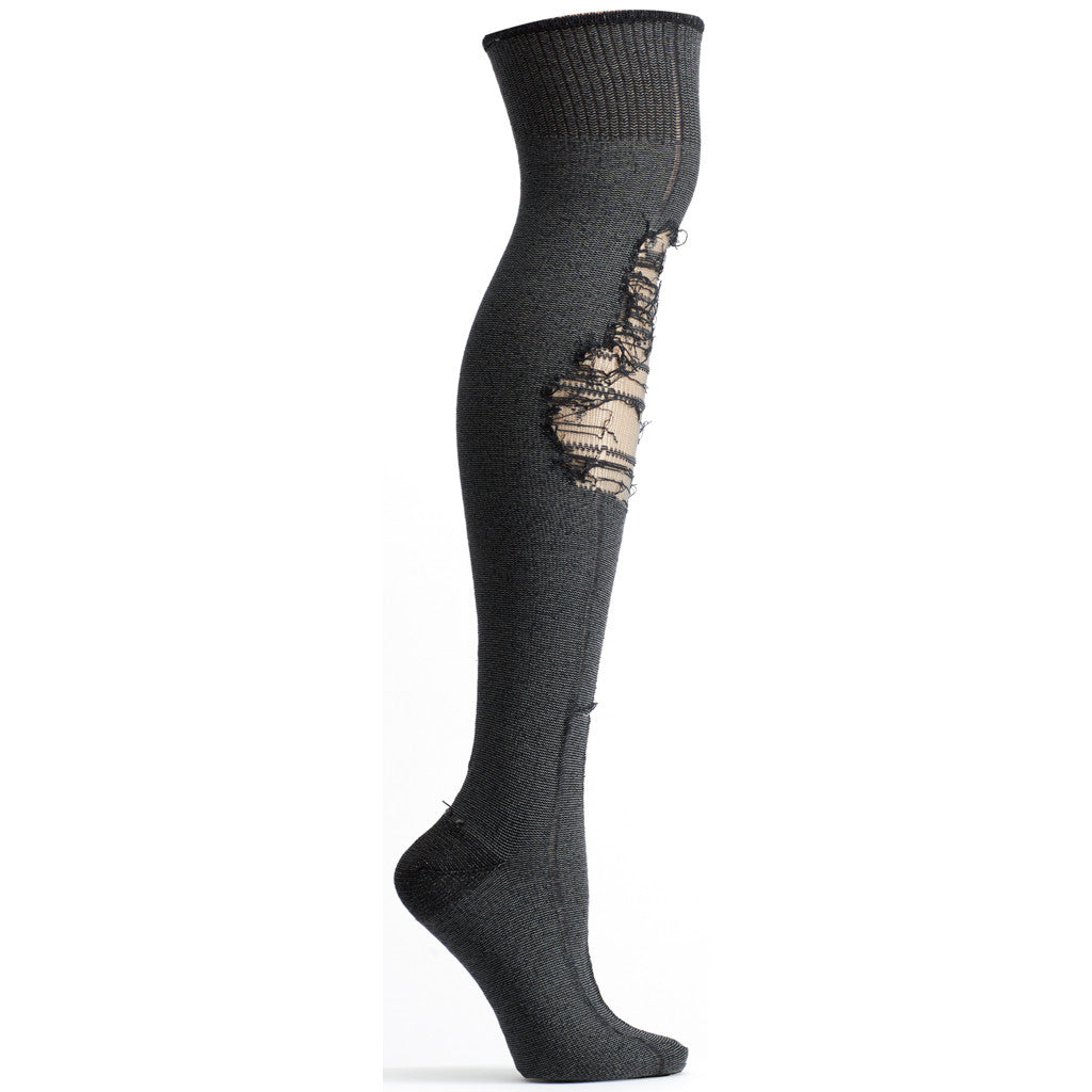 Tatters Over the Knee Sock in Black size 9-11 womens novelty from ozone socks