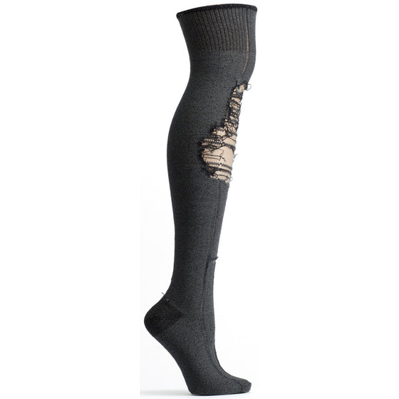 Ozone Design tatters over the knee womens novelty Sock in black