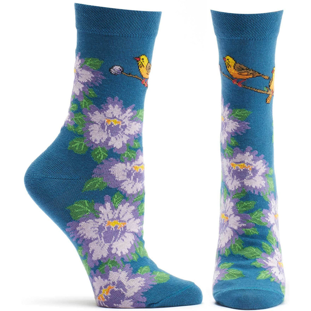 Ozone Design Womens Birds And Blossoms Floral Sock in Navy