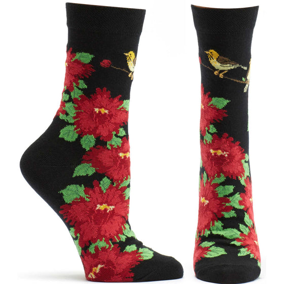 Ozone Design Womens Birds And Blossoms Floral Sock in Black