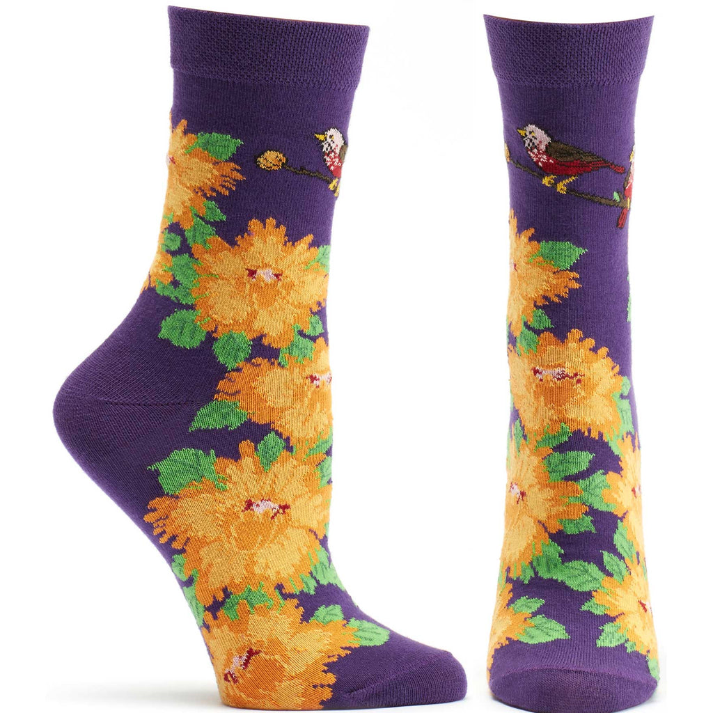 Ozone Design Womens Birds And Blossoms Floral Sock in Violet