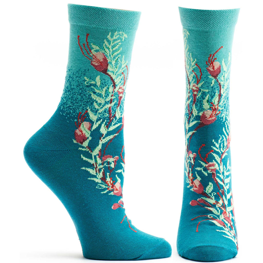 Ozone Design Blooming Kelp Womens Floral Sock in Turquoise