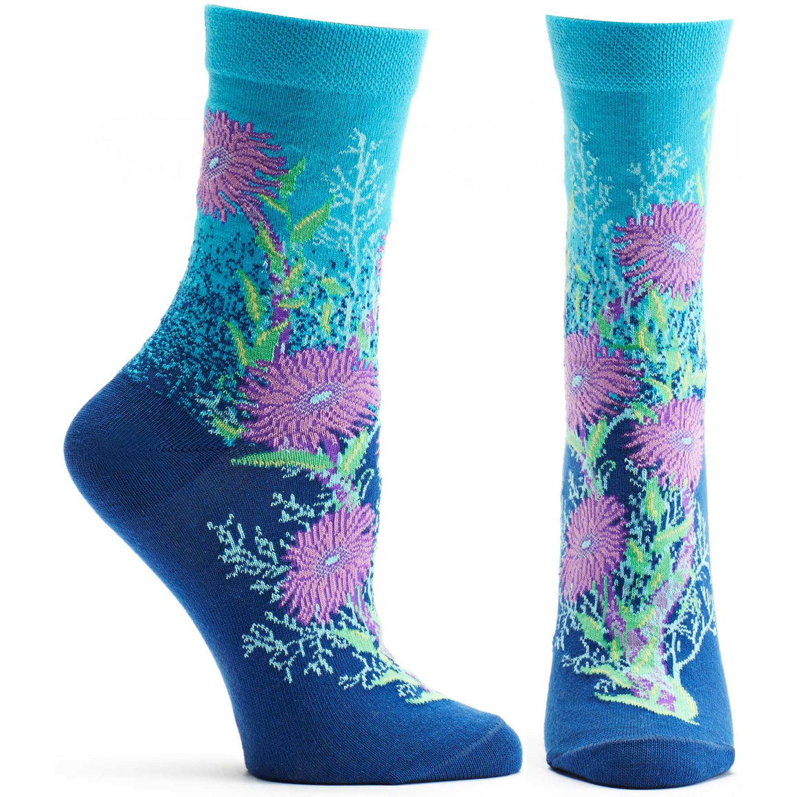 Ozone Design Womens Bubbling Bloom Floral Sock in Navy
