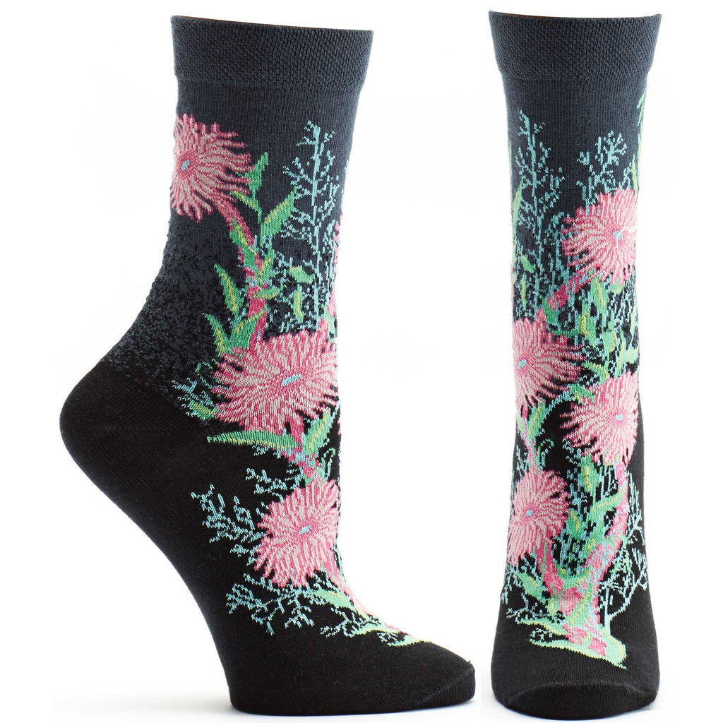 Ozone Design Bubbling Bloom Womens Floral Sock in Black
