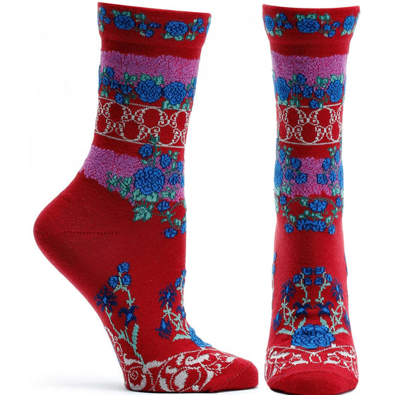 Ozone Design Festive Gates Womens Floral Sock in Red