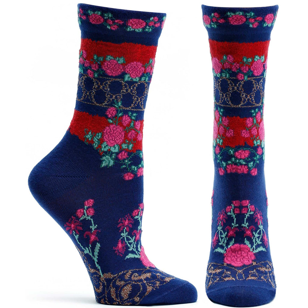 Ozone Design Festive Gates Womens Floral Sock in Navy
