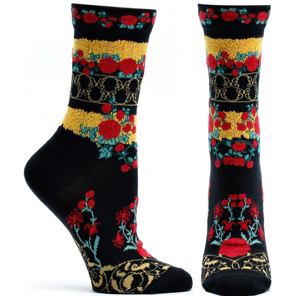 Ozone Design Festive Gates Womens Floral Sock in Black