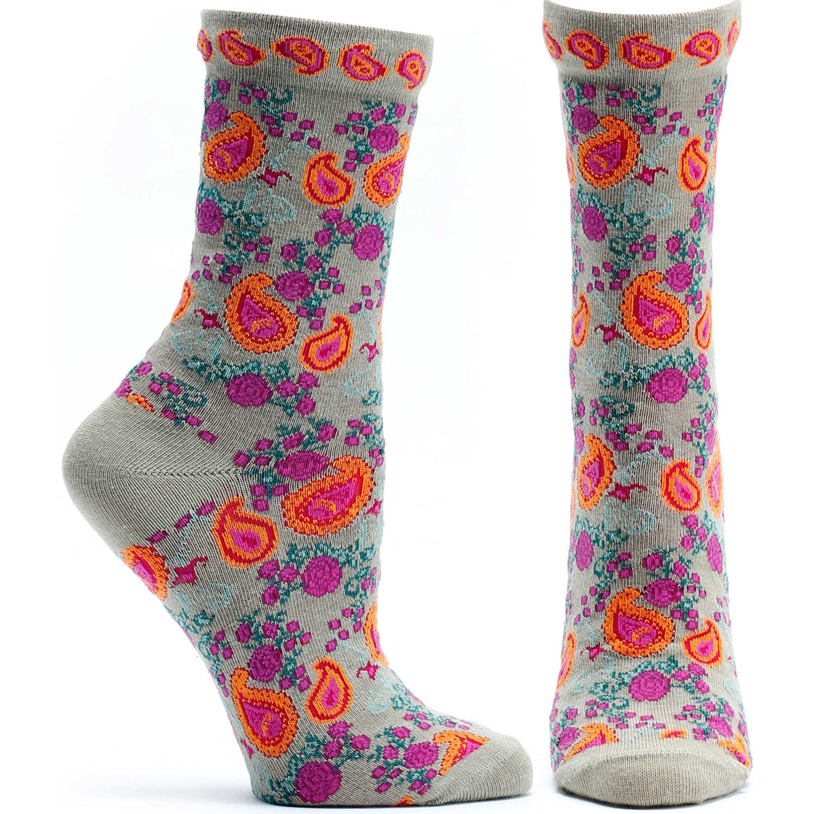 Ozone Design Flourishing Paisley Womens Floral Sock in Beige