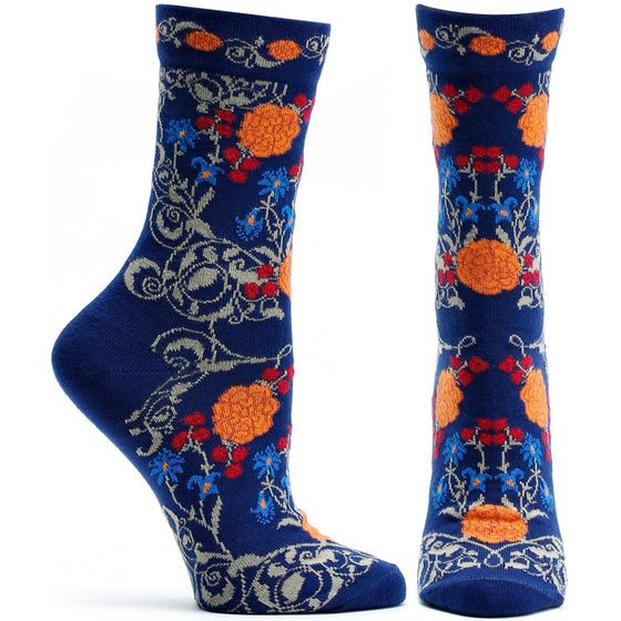 Ozone Design Rajasthani Rose Womens Floral Sock in Navy