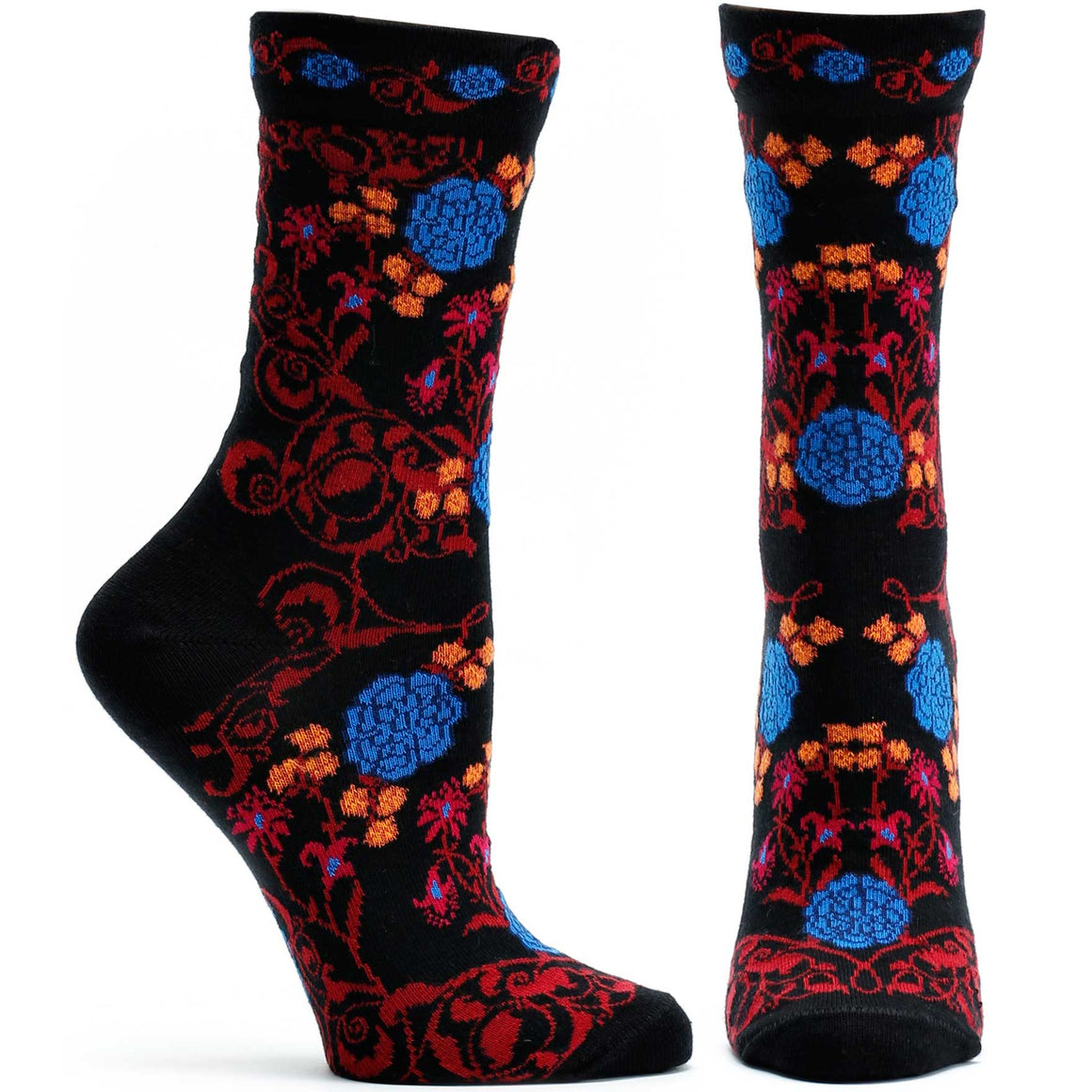 Ozone Design Rajasthani Rose Womens Floral Sock in Black