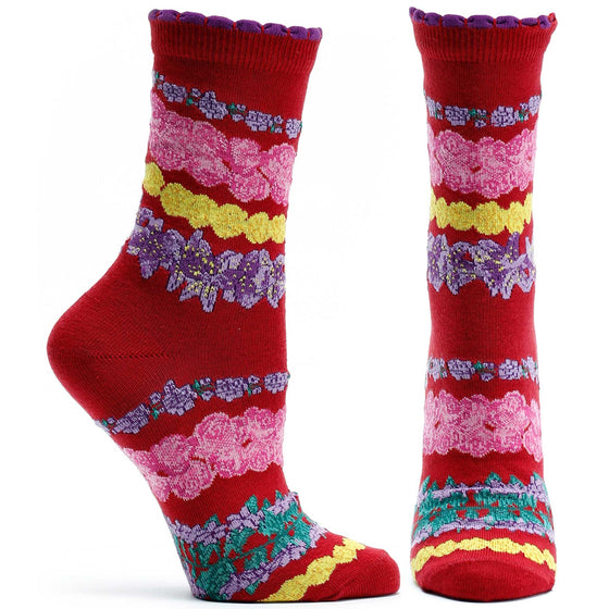 Ozone Design Womens Wrap Around Garlands Floral Sock in Red