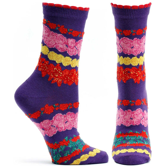 Ozone Design Wrap Around Garlands Womens Floral Sock in Violet