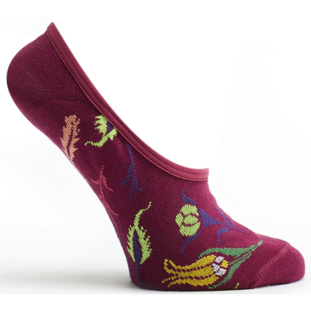Turkish Garden No Show Sock in Fuchsia size 9-11 womens floral from ozone socks