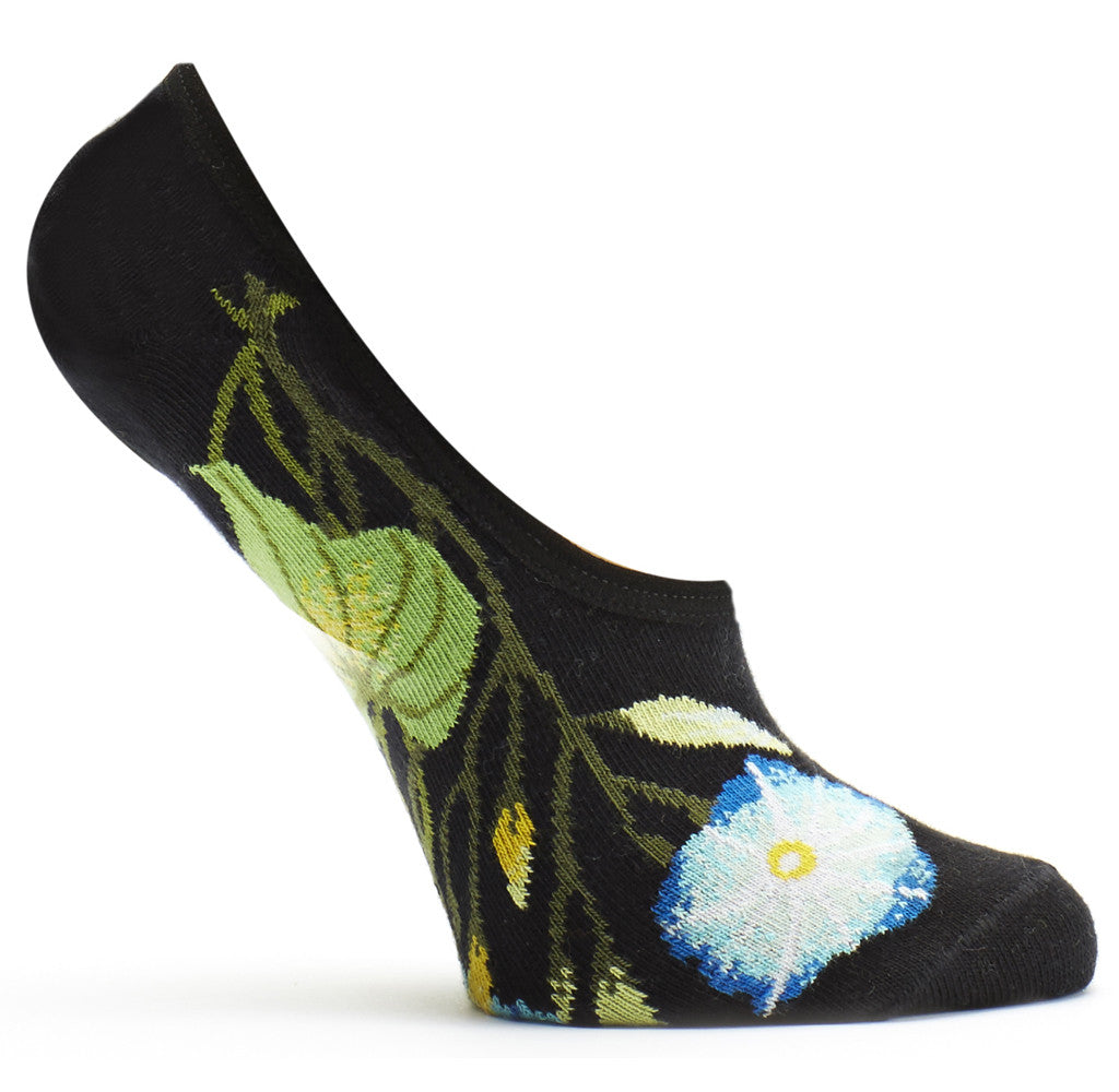 Morning Glory No Show Sock in Black size 9-11 womens ankle from ozone socks