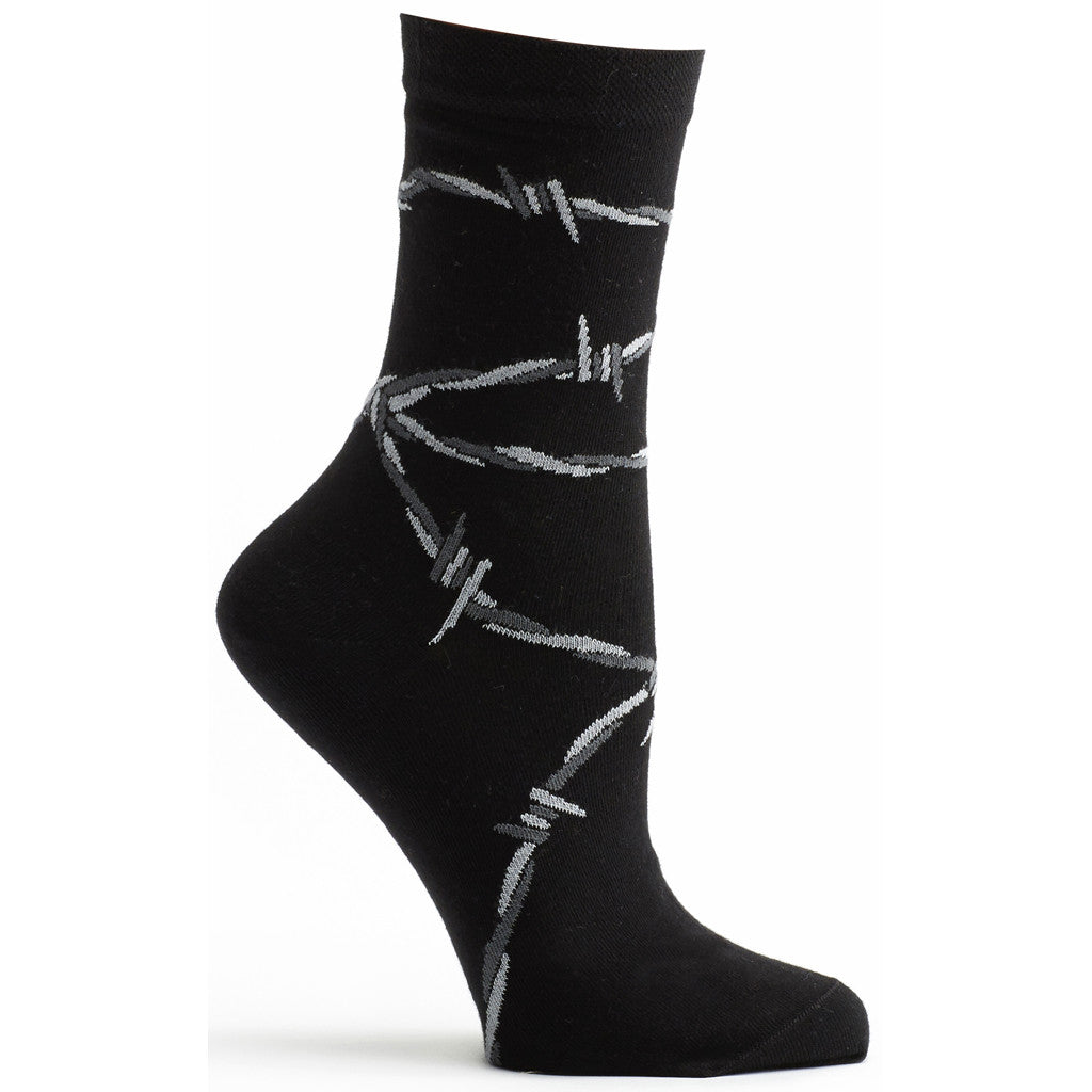 Barbed Wire Sock in Black size 9-11 for ozone socks women