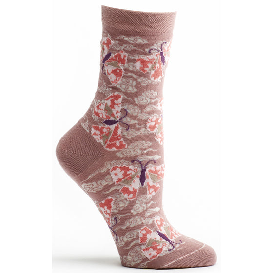 Ozone Design origami butterfly Womens floral Sock in rose