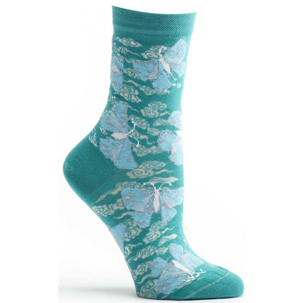 Ozone Design origami butterfly Womens floral Sock in blue