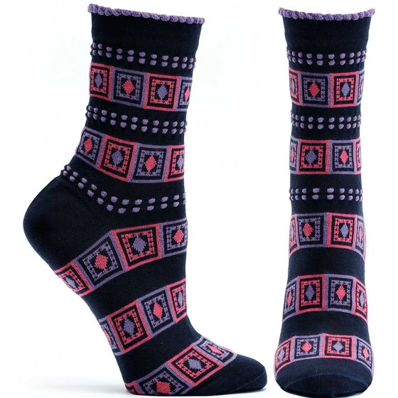 Ozone Design Womens Diamonds And Dots Striped Sock in Navy