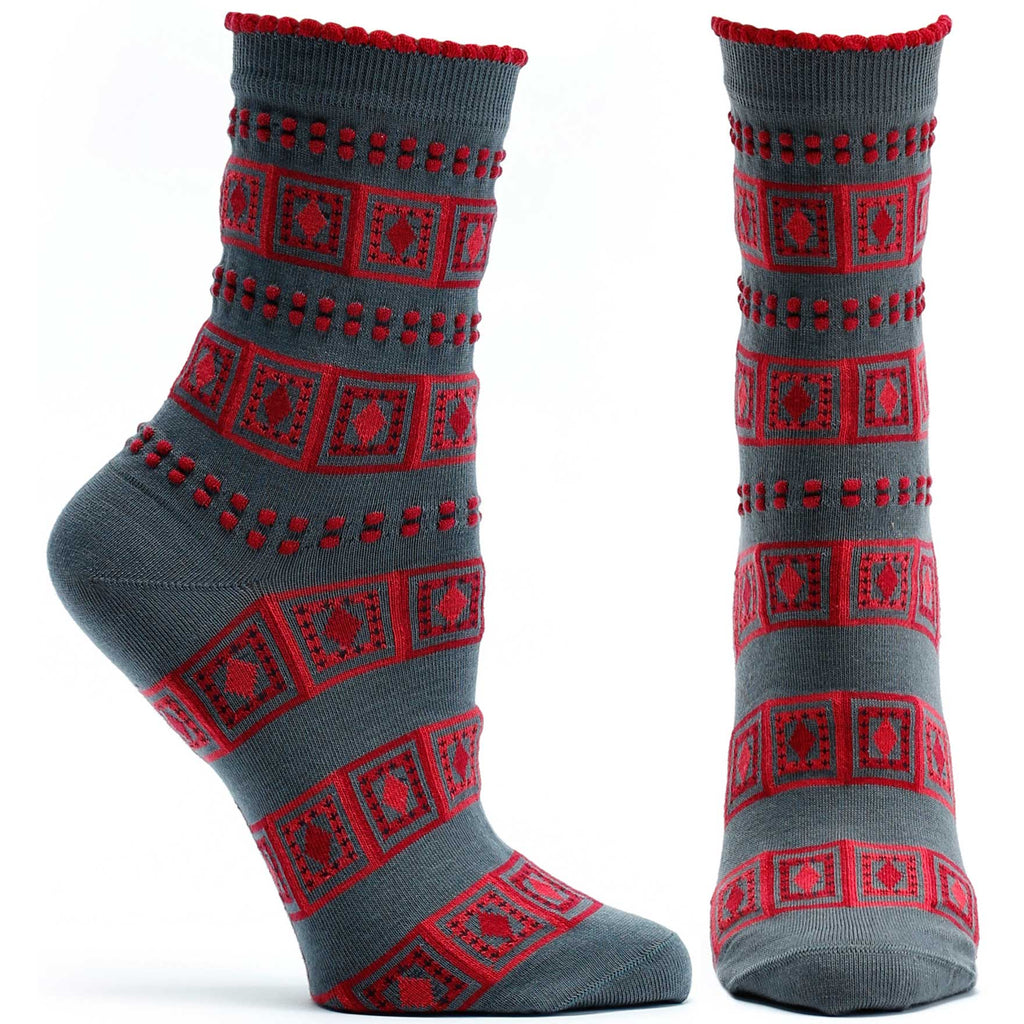 Ozone Design Diamonds And Dots Womens Striped Sock in Grey