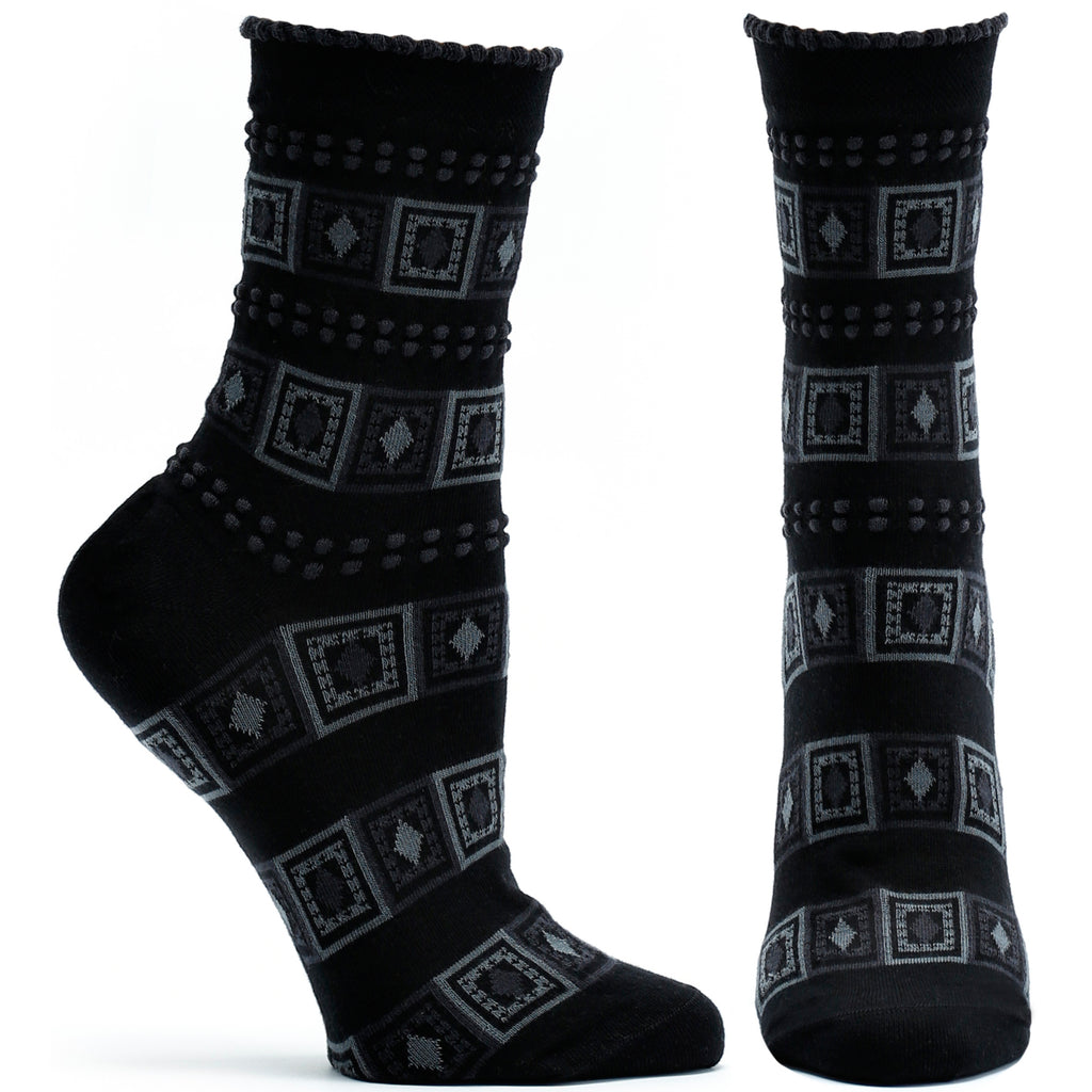 Ozone Design Diamonds And Dots Womens Striped Sock in Black