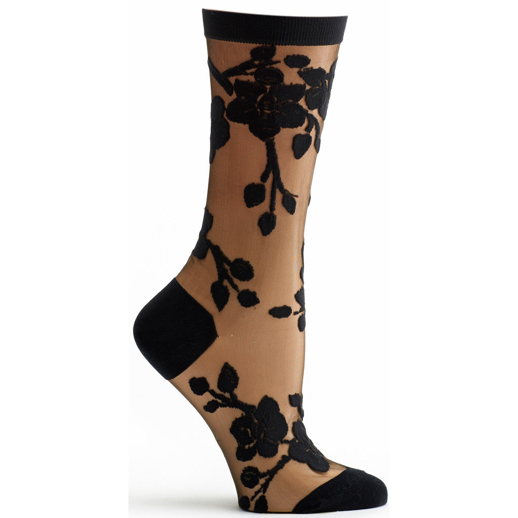 Sheer Orchid Sock in Black size 9-11 womens floral from ozone socks