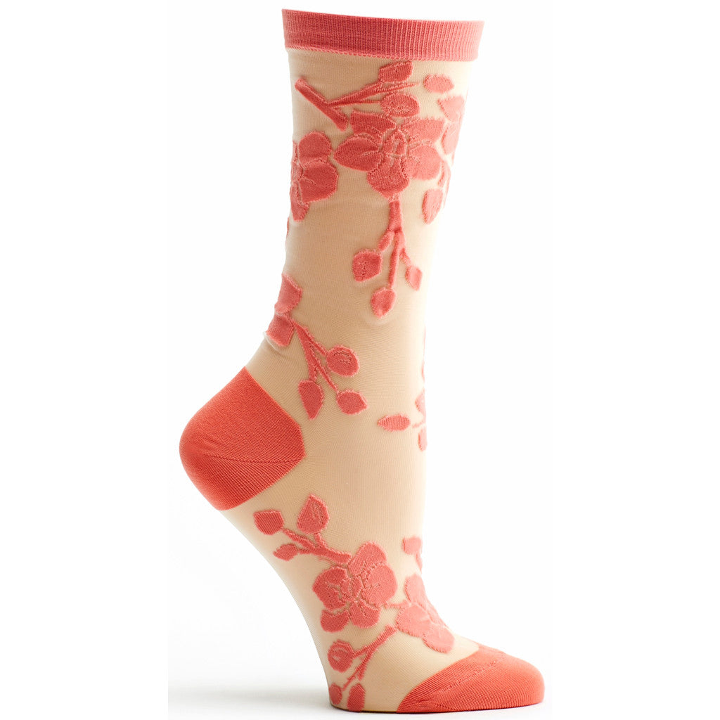 Sheer Orchid Sock in Coral size 9-11 womens floral from ozone socks