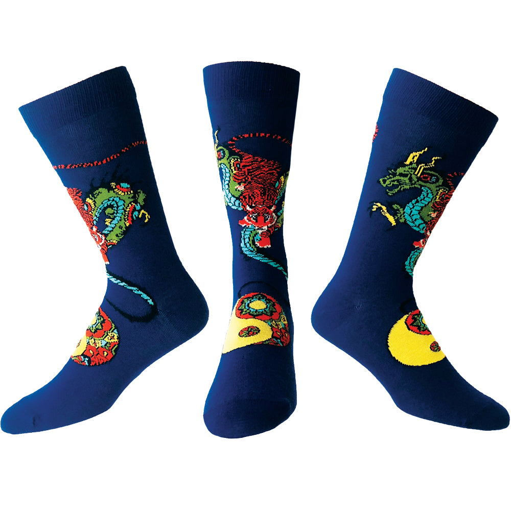 ozone design mens taoist tiger hidden dragon tattoo socks in navy