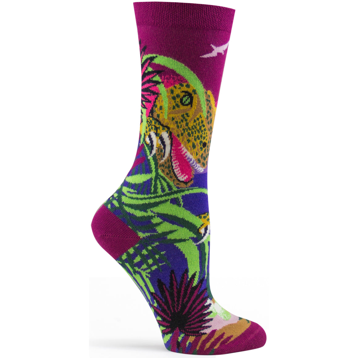 T-Rex Dinosaur Sock in Eggplant size 9-11 womens novelty from ozone socks