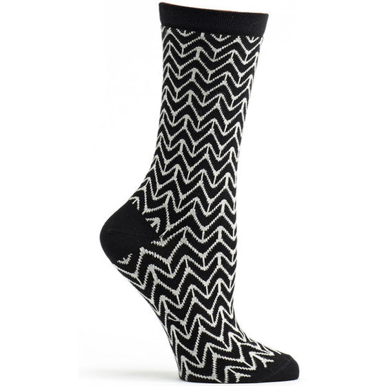 Chevron Sock Black / 9-11 - Women - Ozone Socks - 1