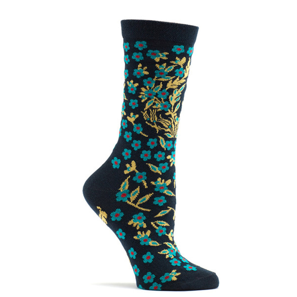 Ozone Design turkish flower Womens floral Sock in navy