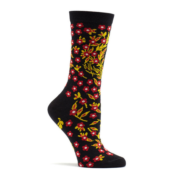 Ozone Design turkish flower Womens floral Sock in black