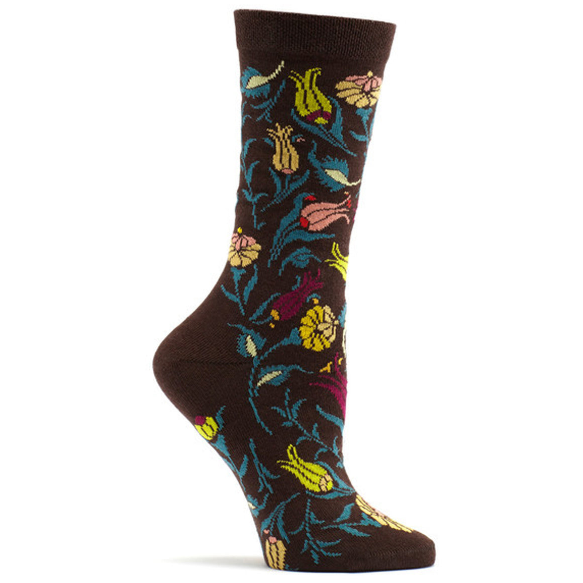 Turkish Garden Sock in Brown size 9-11 womens floral from ozone socks