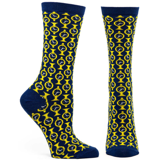 Ozone Design grand central clock womens novelty Sock in blue