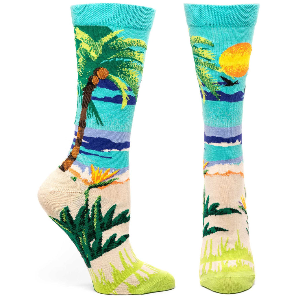 Ozone Design endorphic palms womens beach novelty Sock in green