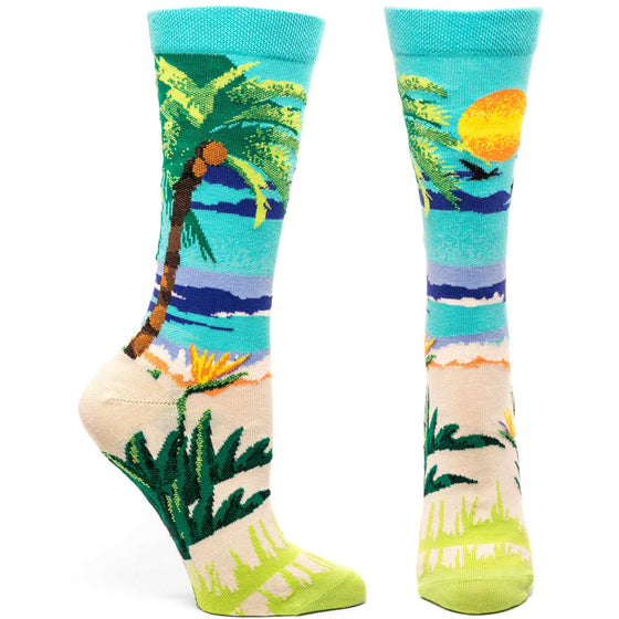 Ozone Design endorphic palms womens novelty Sock in green