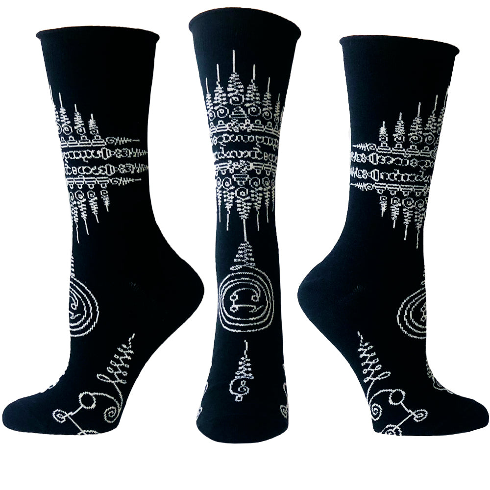 ozone design womens twisted thai tattoo socks in black
