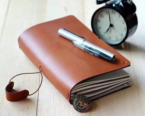 Simple Brown Leather Travel Journal - MerrySix