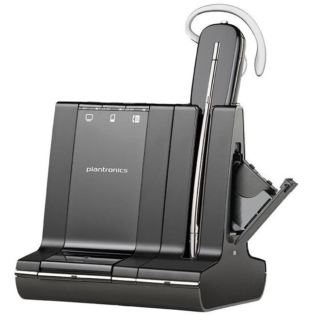 Plantronics Savi W745 Earset - Mono - Wireless - DECT - 350 ft - Over-the-ear, Over-the-head, Behind-the-neck - Monaural - Open - (86507-01)