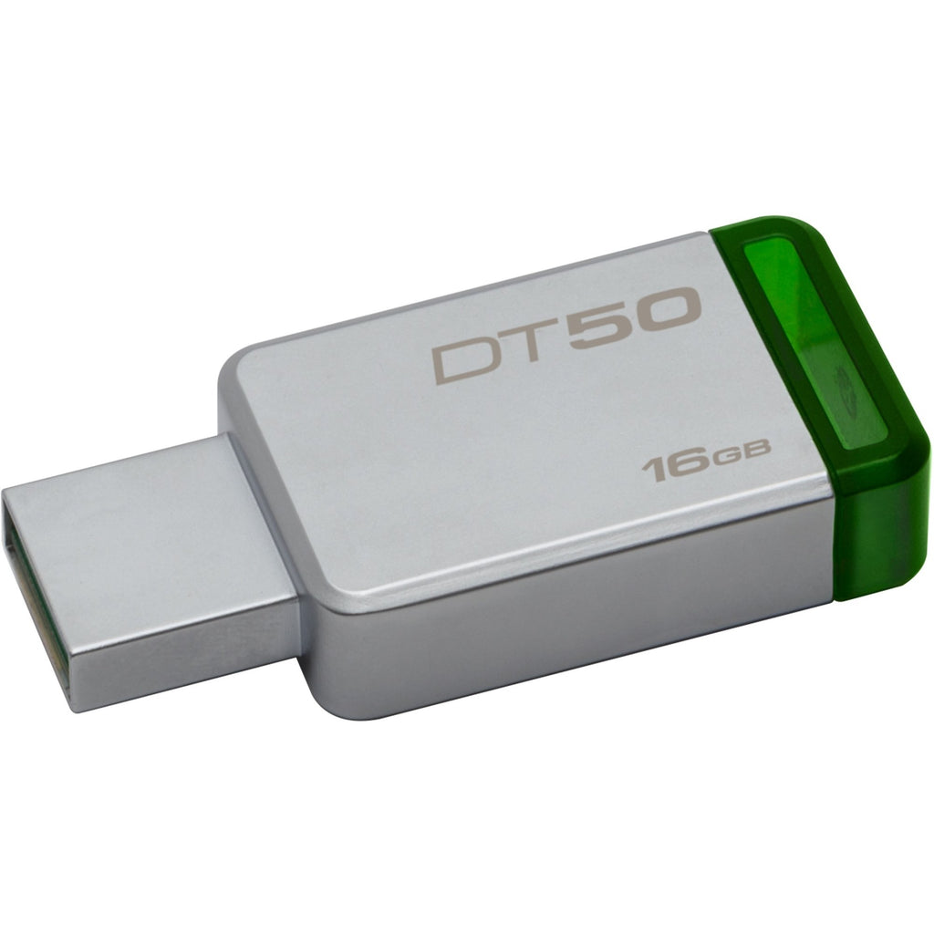 Kingston 16GB USB 3.0 DataTraveler 50 (Metal/Blue) - 16 GB - USB 3.0 - Green - 1/Pack (DT50/16GB)