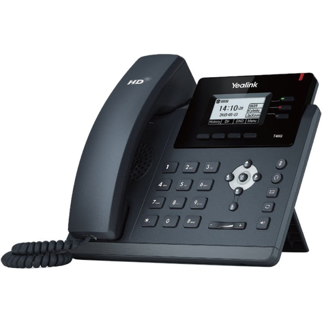 Yealink SIP-T40G IP Phone - Cable - Wall Mountable, Desktop - Black - VoIP - Caller ID - Speakerphone - 2 x Network (RJ-45) - PoE - (SIP-T40G)