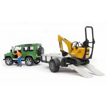 Bruder Land Rover Defender with trailer, JCB Micro Exc. and worker (02593) Toy