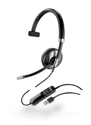 Plantronics Blackwire C710 Headset - Mono - Black - USB - Wired/Wireless - Bluetooth - 20 Hz - 20 kHz - Over-the-head - Monaural - - (87505-02)