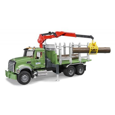 Bruder MACK Granite timber truck with loading crane and 3 trunks (02824) Toy